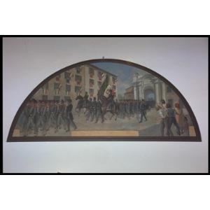 Senigallia - le truppe piemontesi entrano da porta Lambertina (o porta Fano) il 13 settembre 1860. L' autore della tela è Buratti Roberto