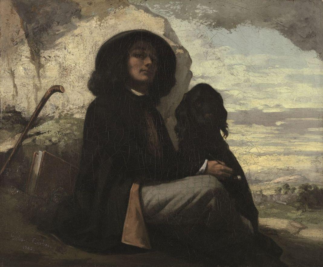 Gustave-Courbet-Autoritratto-con-il-cane-nero-1842.-ecomarche